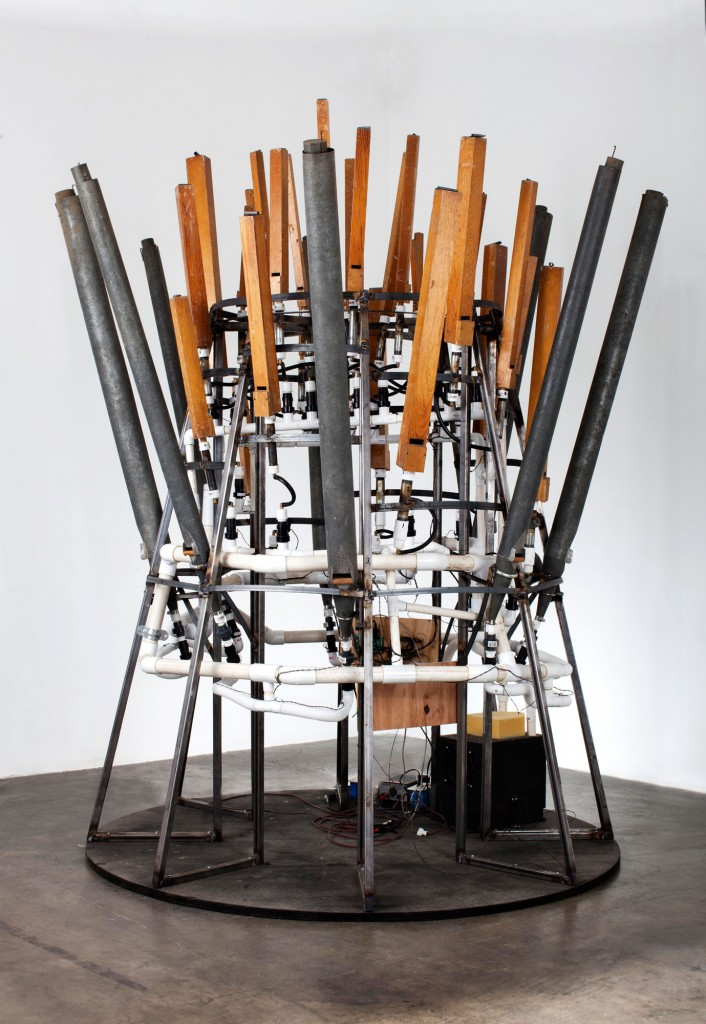 """""""The General"""" (2014);  vintage organ pipes, electronics, and steel. Photograph by David Lekach"""