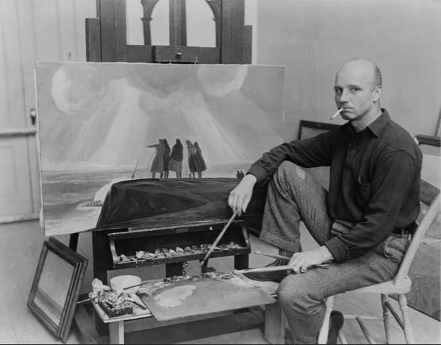 Rockwell Kent in his studio