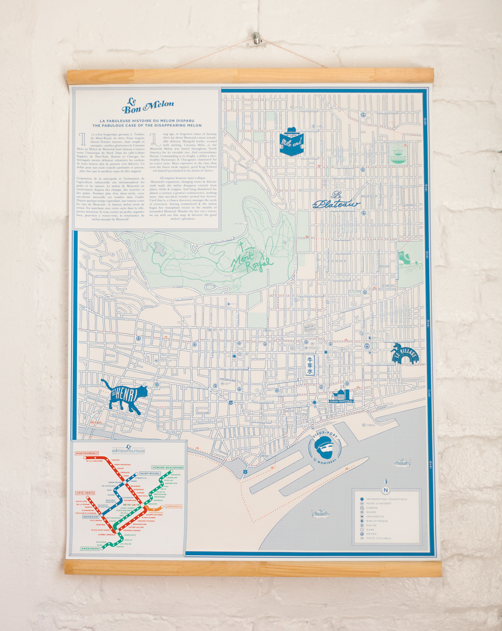 """Le Bon Melon,"" a hand-illustrated cartographic map of Montreal is  Matte's tribute to the multi-faceted city"