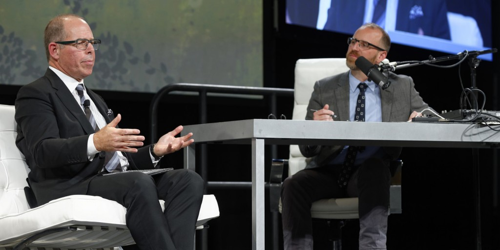Michael Bierut and Roman Mars at the 2015 AIGA Design Conference