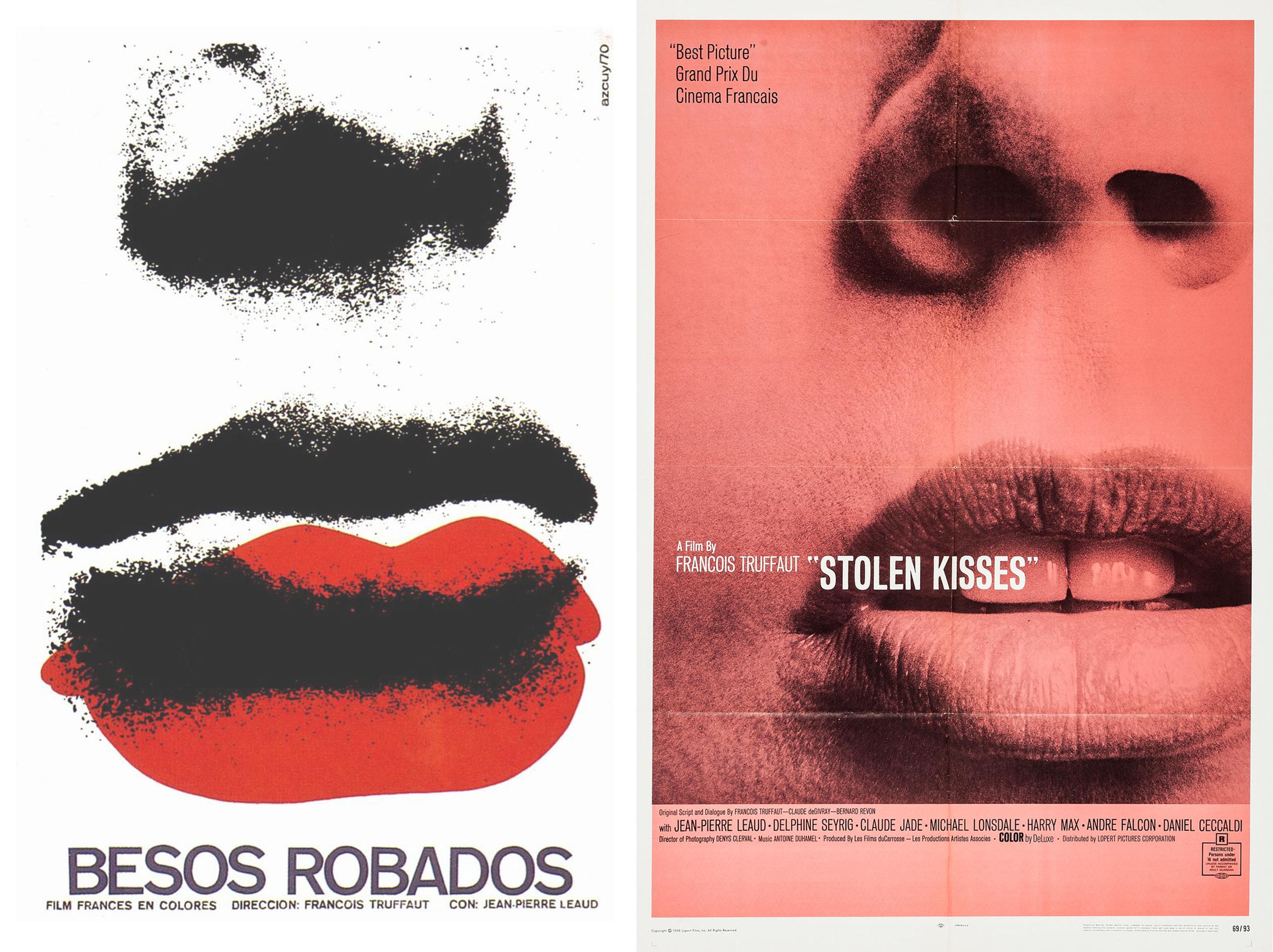 Stolen Kisses Cuban poster by René Azcuy Cardénas (1970), U.S. one-sheet, designer unknown (1969)