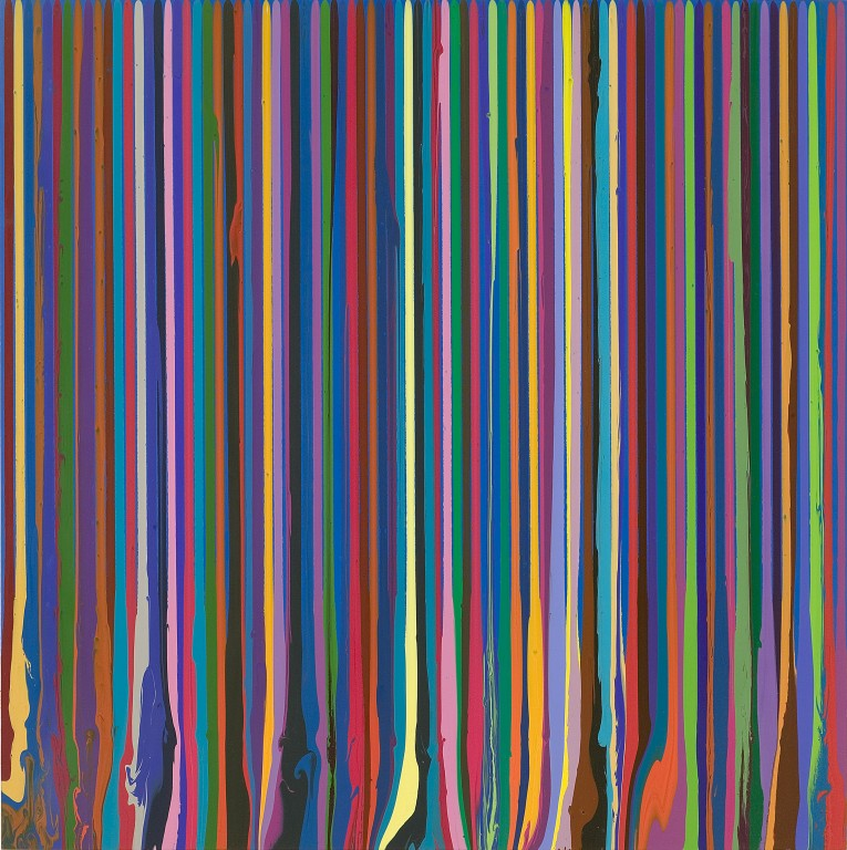 """Puddle Painting: Swedish Blue,"" by Ian Davenport (2009) Acrylic painting on aluminum, Courtesy Waddington Custot"