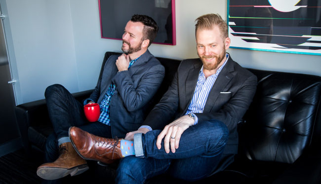 Josh Miles, host of podcast Obsessed WIth Design, with his business partner Daniel Herndon.