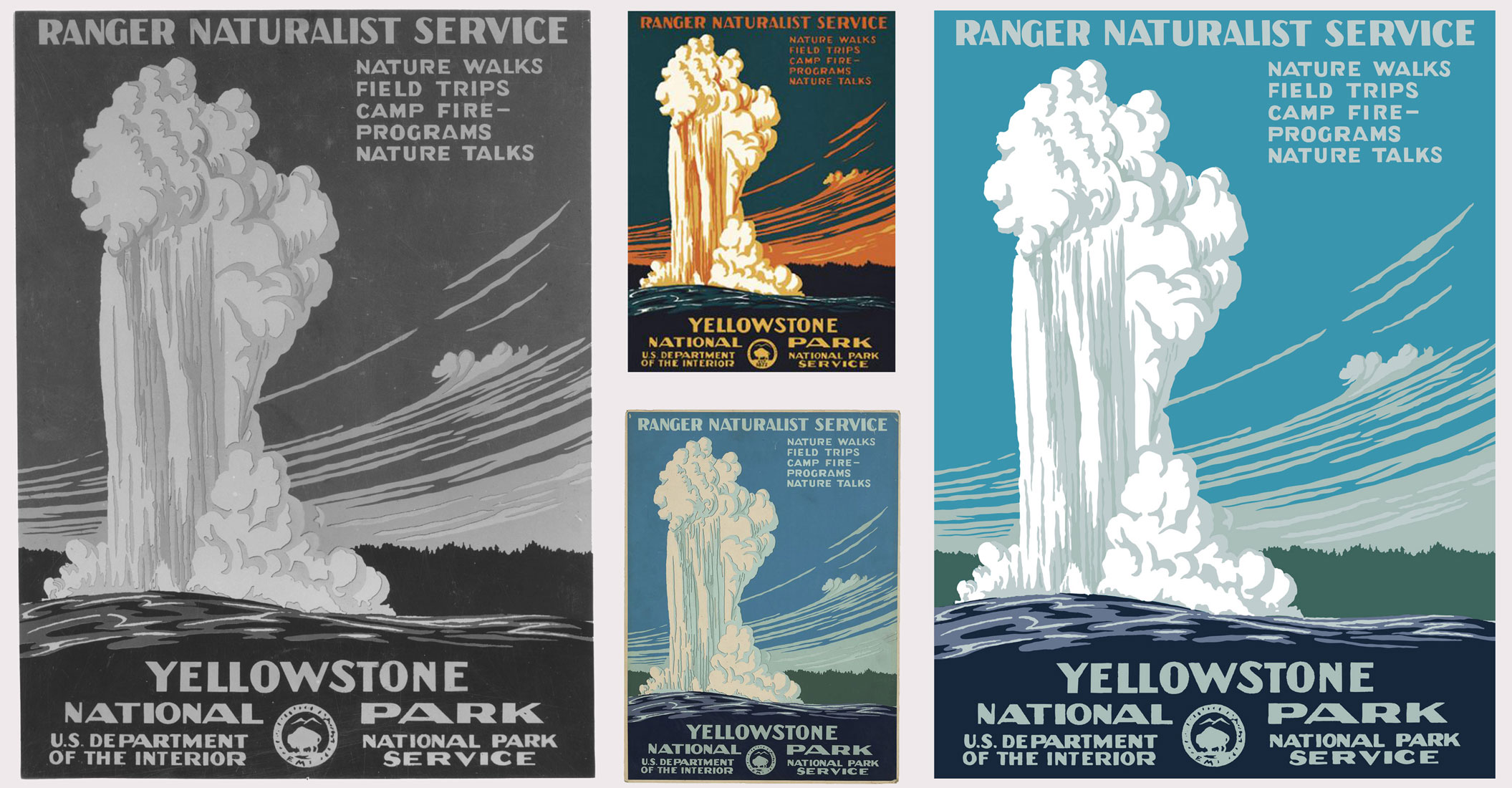 Left: Black-and-white photograph of the original WPA screen-printed Yellowstone National Park poster