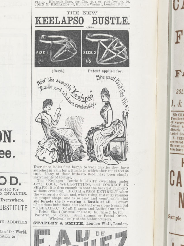 """Advertisement for """"The - Keelapso Bustle"""", 1887, courtesy Victoria and Albert Museum, London."""