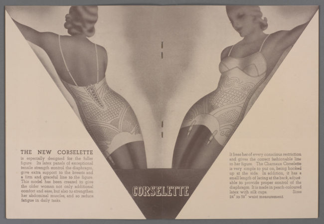 Advertising brochure for Charnaux 'Anotex' corsetry, c.1934, courtesy Victoria and Albert Museum, London.