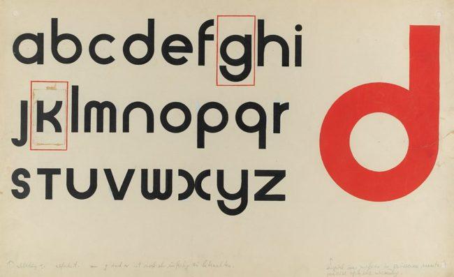 Research in Development of Universal Type by Herbert Bayer, 1927. Harvard Art Museums/Busch-Reisinger Museum, © Artists Rights Society (ARS), New York / VG Bild-Kunst, Bonn.