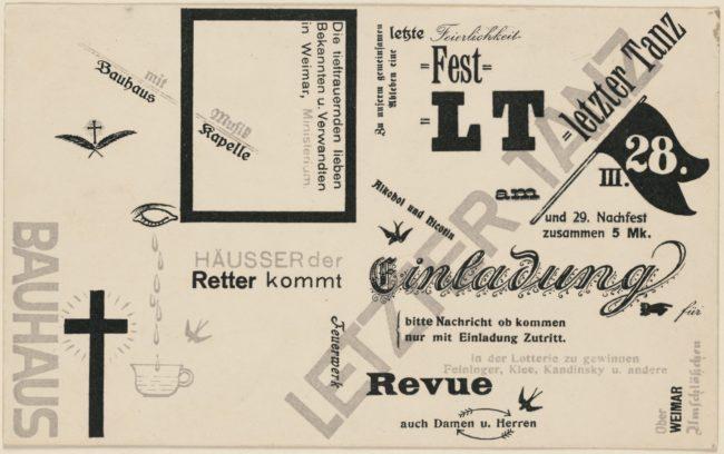 Last Dance, Invitation by Herbert Bayer. Harvard Art Museums/Busch-Reisinger Museum, © Artists Rights Society (ARS), New York / VG Bild-Kunst, Bonn