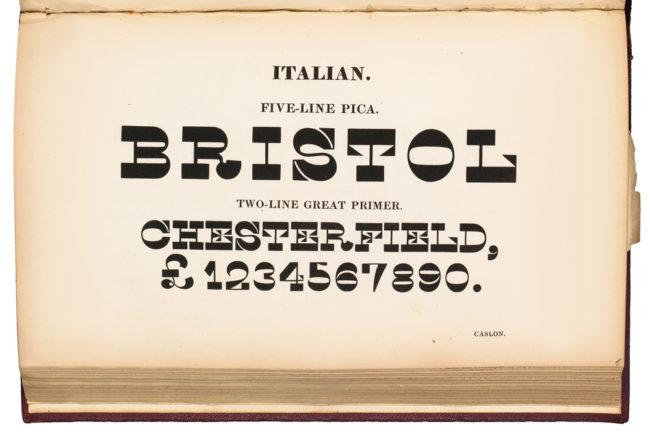 Type specimen, 1821 Caslon Italian.